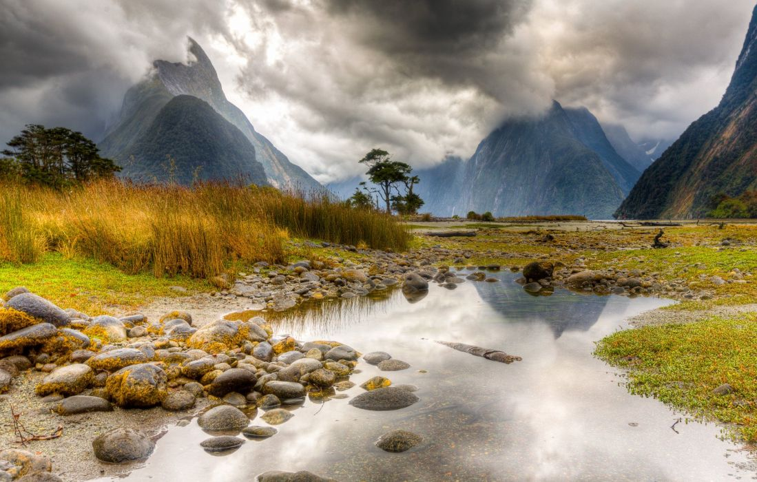 Mountains Scenery Stones New Zealand Puddle Nature wallpaper