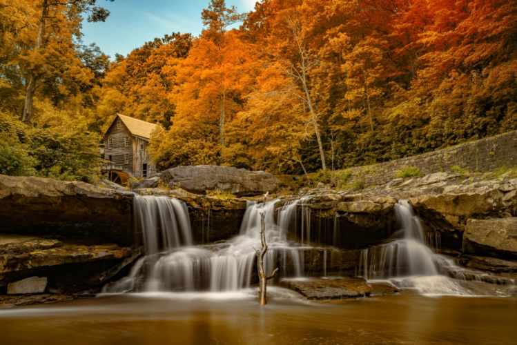 USA Autumn Rivers Waterfalls Mill Glade Creek Grist Mill Babcock State Park West Virginia Nature wallpaper