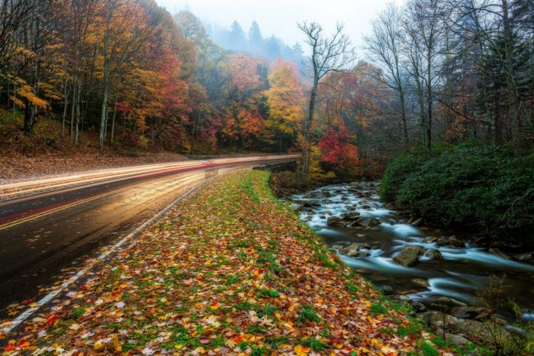 USA Autumn Roads Parks Great Smoky Mountains Nature wallpaper