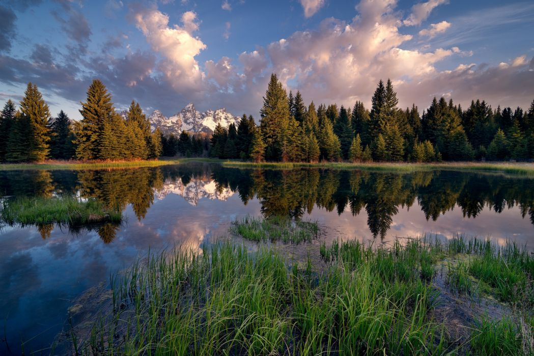 Scenery USA Parks Lake Forests Sky Clouds Grass Grand Teton National Park Nature wallpaper