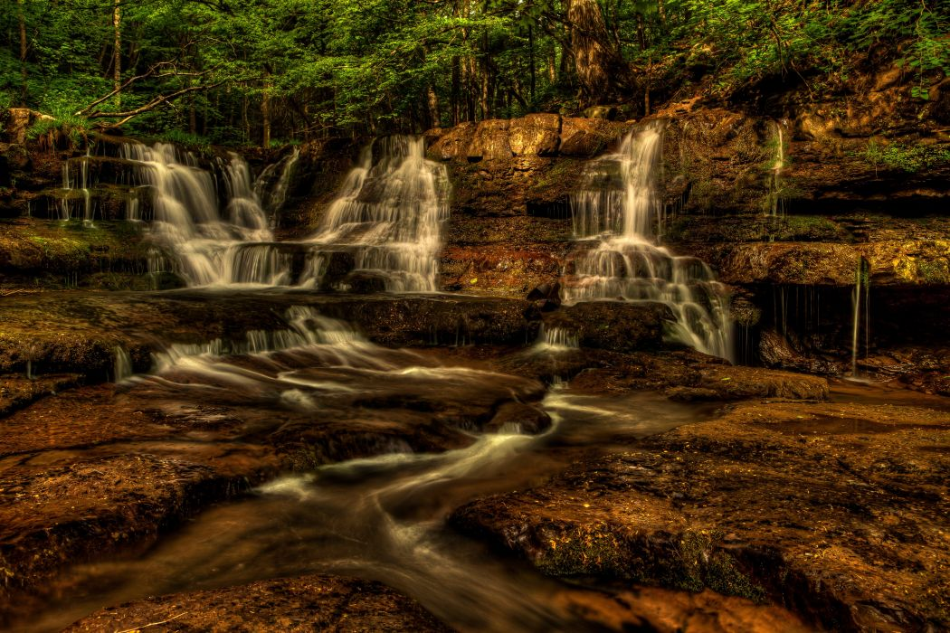 USA Waterfalls Fall Branch New River Gorge Nature wallpaper