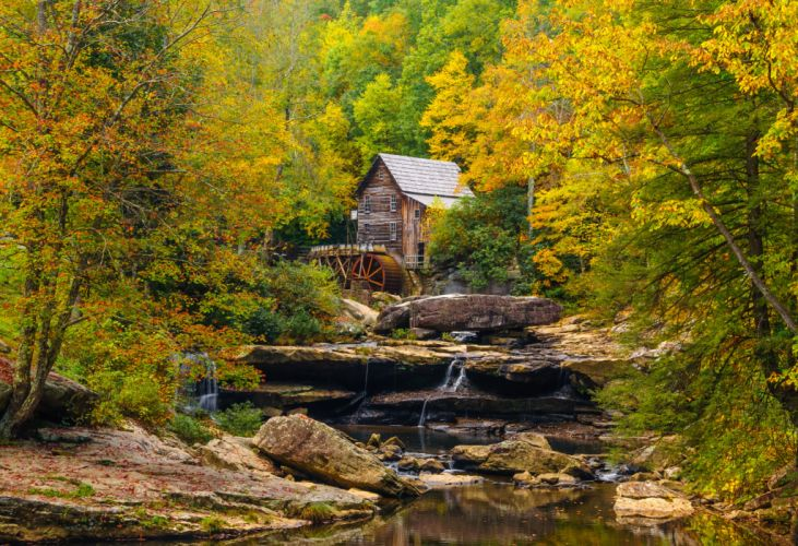 Autumn USA Mill Stream Glade Creek Grist Mill Babcock State Park West Virginia Nature wallpaper