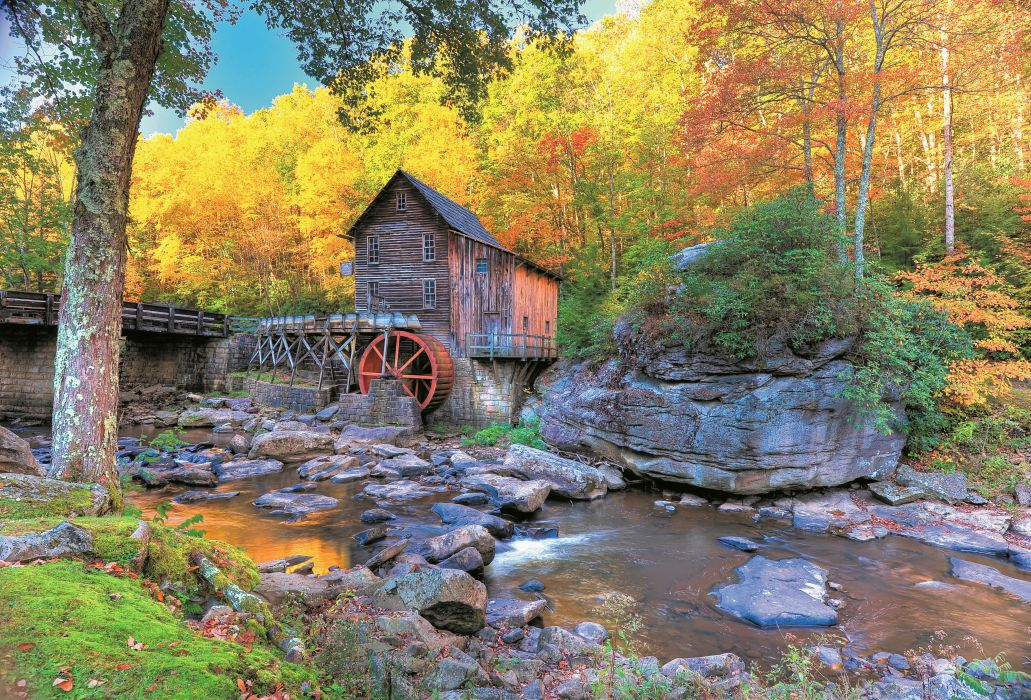 USA Stones Autumn Mill Glade Creek Grist Mill Babcock State Park West Virginia Nature wallpaper