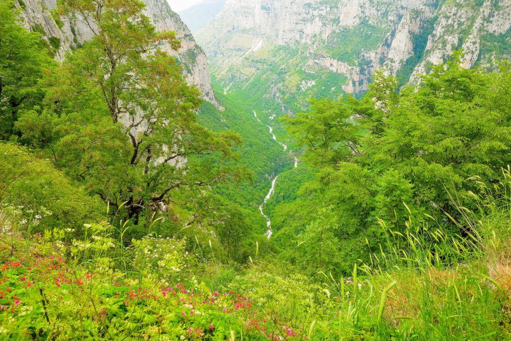 Greece Mountains Grass Voidomatis Nature wallpaper