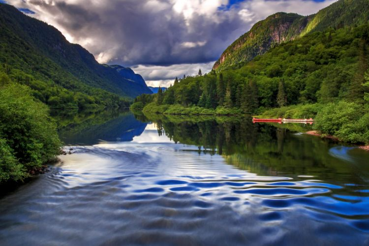 Canada Scenery Mountains Forests Rivers Quebec Nature wallpaper