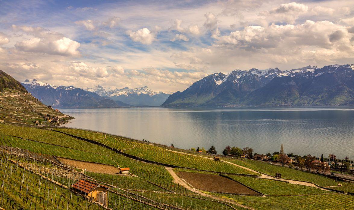 Switzerland Scenery Lake Mountains Fields Clouds Nature wallpaper