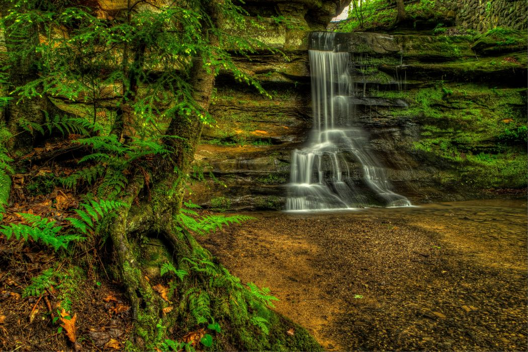 USA Waterfalls Old Mans Cave Hocking Hills State Park Ohio Nature wallpaper