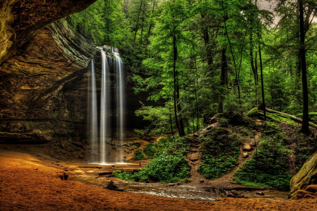 USA Waterfalls Crag Ash Cave Ohio Hocking Hills State Park Nature wallpaper