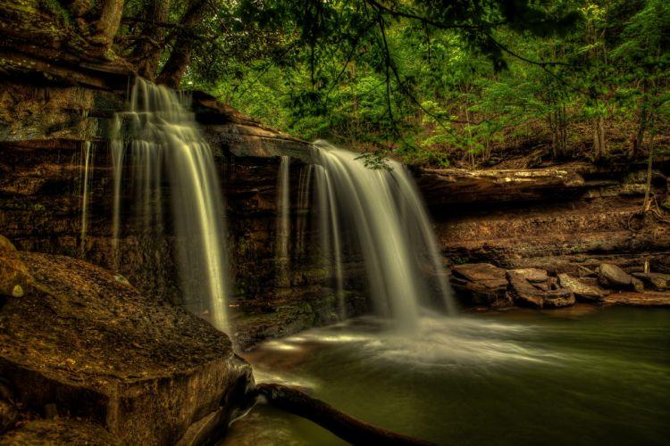 Waterfalls USA Claypool Falls west virginia Nature wallpaper