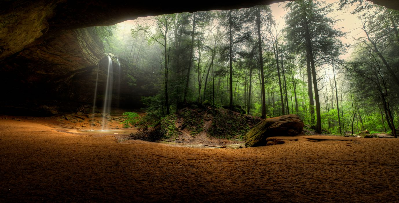 Waterfalls USA Crag Trees Hocking Hills State Park Ohio Nature wallpaper