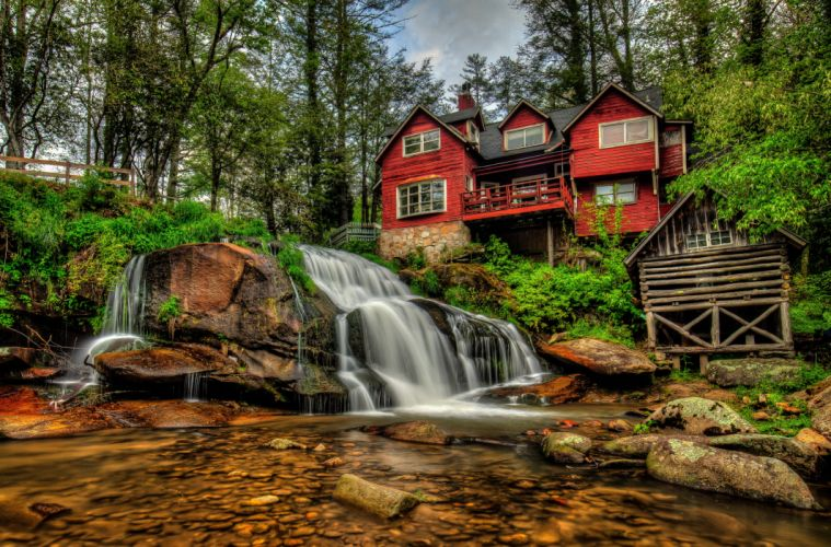 Waterfalls USA Houses Stones Mill Shoal Falls Pisgah National Forest North Carolina Nature wallpaper