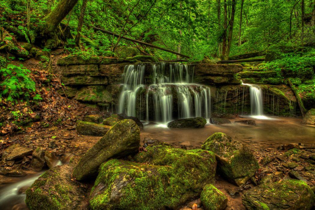 Waterfalls USA Stones Moss Big Branch Falls New River Gorge West Virginia Nature wallpaper