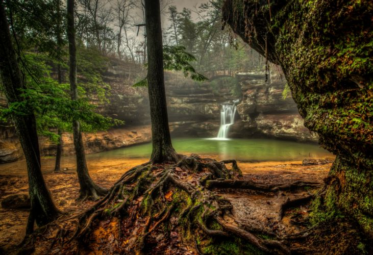 Waterfalls USA Trees HDR Upper Falls Old Mans Cave Hocking Hills State Park Nature wallpaper