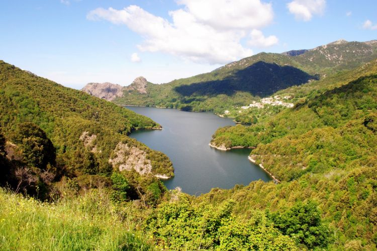 France Scenery Mountains Lake Corsica Nature wallpaper