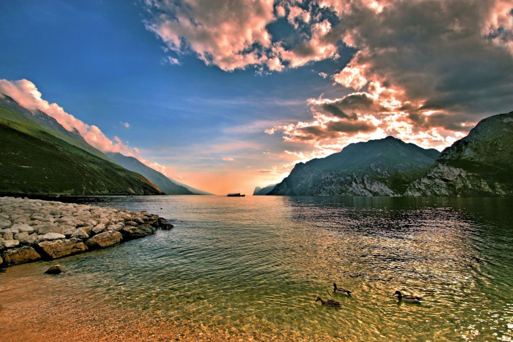 Scenery Mountains Rivers Sky Clouds Nature wallpaper