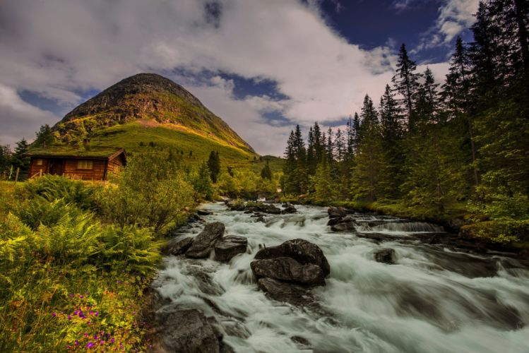 Scenery Rivers Stones Mountains Norway Nature wallpaper