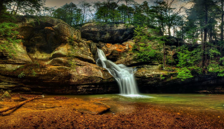 USA Parks Waterfalls Crag Hocking Hills State Park Logan Ohio Nature wallpaper