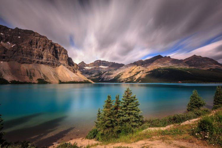Canada Parks Lake Mountains Banff Alberta Bow Lake Nature wallpaper