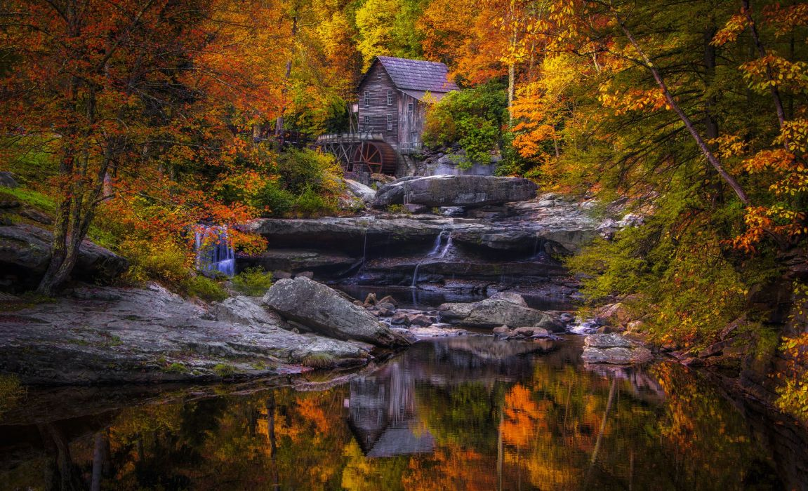 Autumn USA Stones Mill Glade Creek Grist Mill West Virginia Nature wallpaper