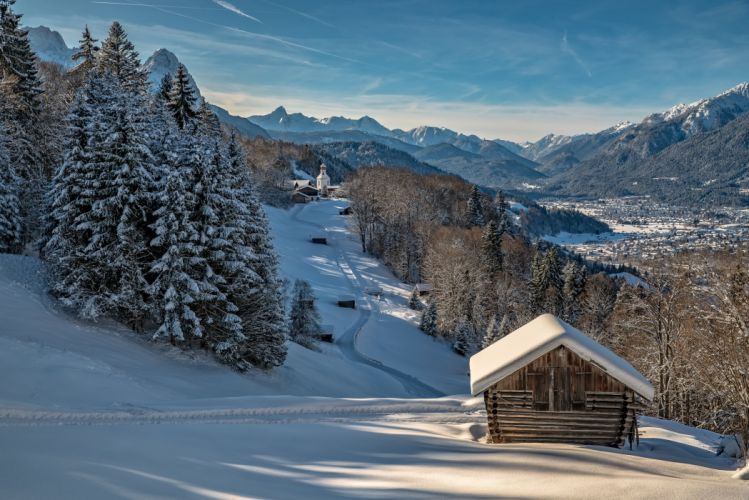 Germany Winter Houses Mountains Scenery Bavaria Snow Nature wallpaper