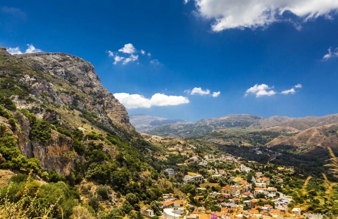 Greece Scenery Mountains Houses Sky Crete Nature wallpaper