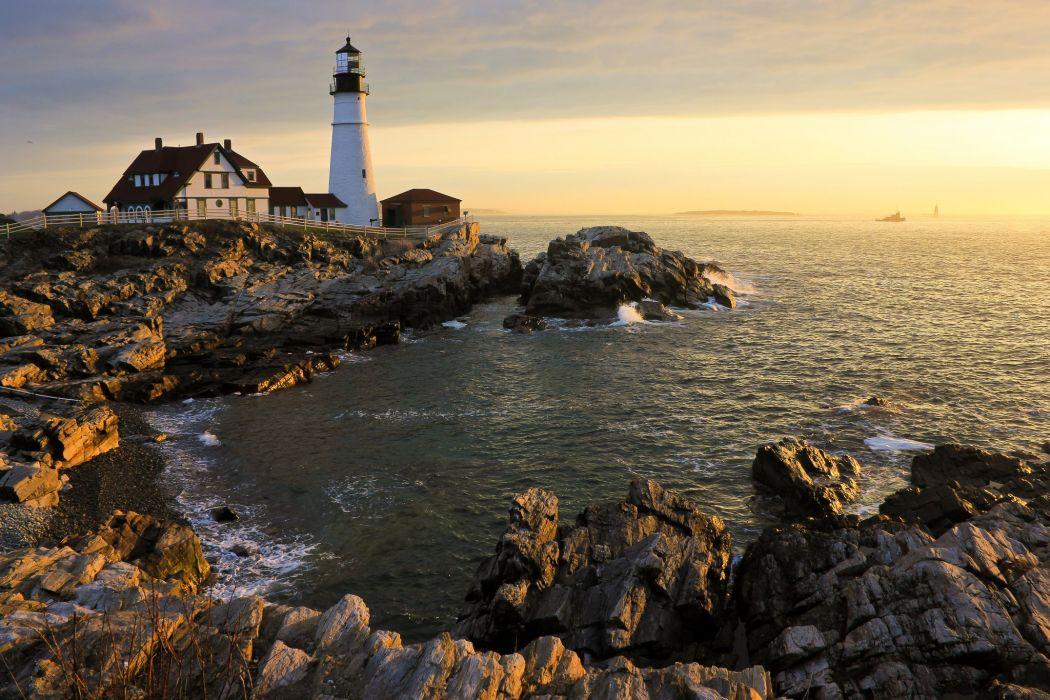 Lighthouses Usa Coast Portland Head Light Cape Elizabeth