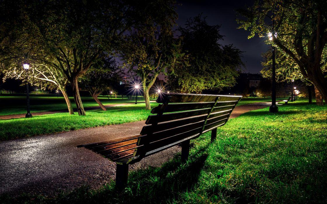 England Parks London Night Bench Trees Grass Primrose Hill Nature wallpaper