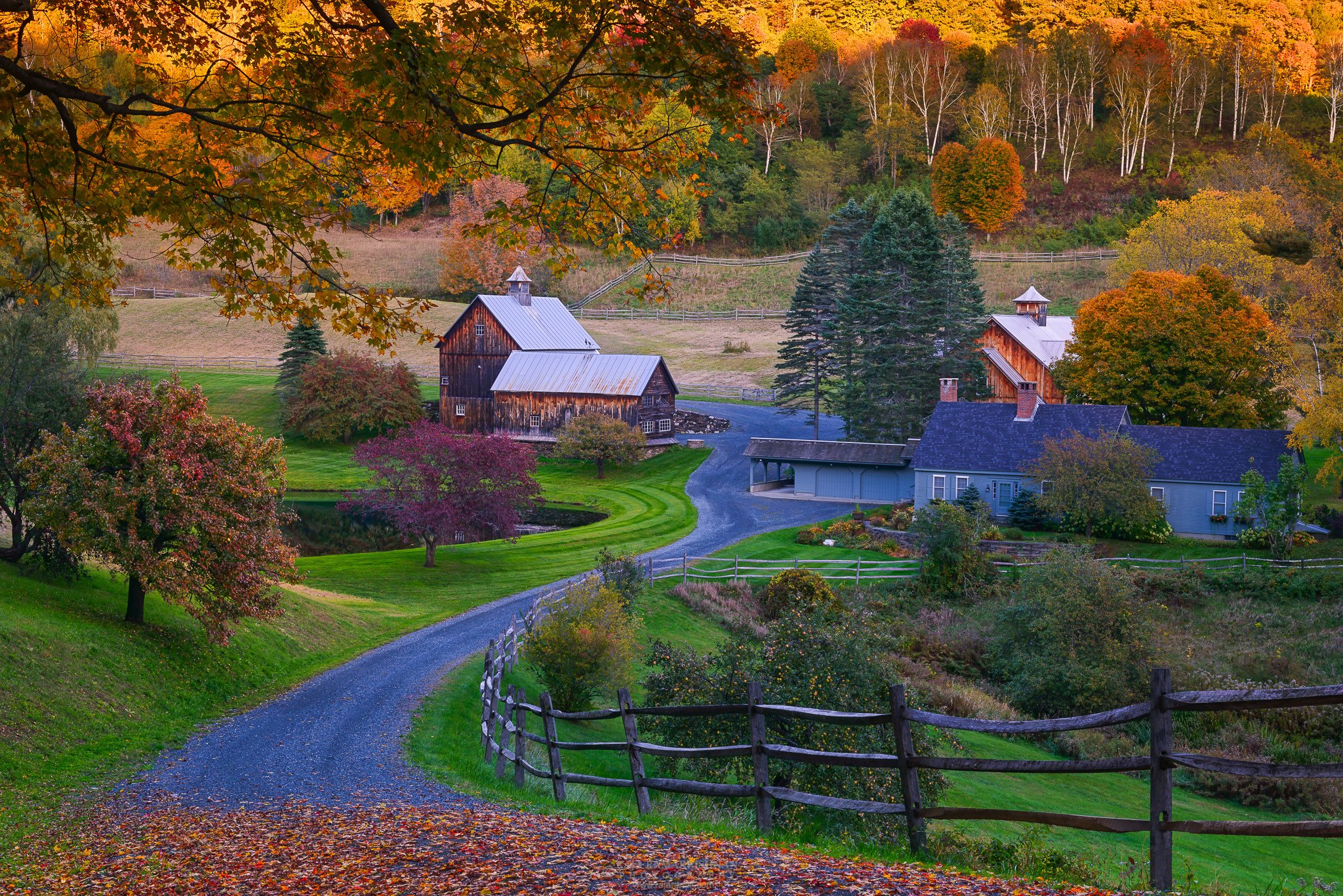 Usa autumn roads village vermont nature wallpaper Usa countryside pictures