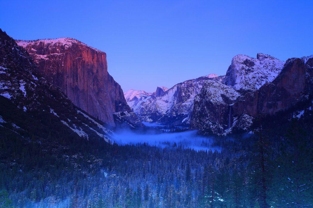 USA Parks Yosemite California Crag Nature wallpaper