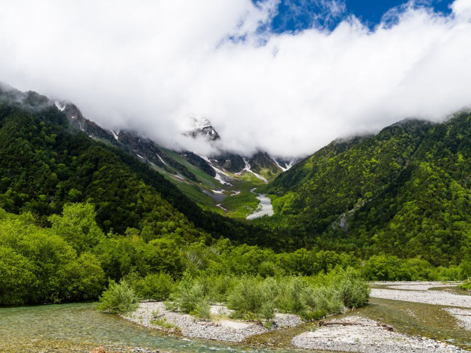 Scenery Mountains Forests Clouds Nature wallpaper