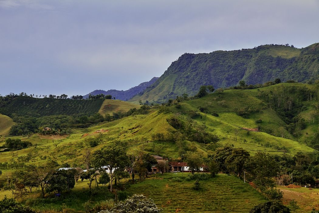 Scenery Mountains Fields Grasslands Colombia Nature wallpaper