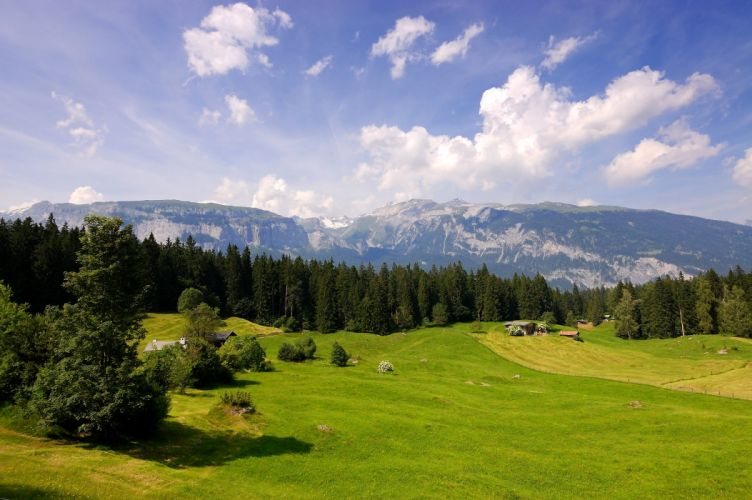 Switzerland Scenery Forests Grasslands Mountains Sky Clouds Nature wallpaper