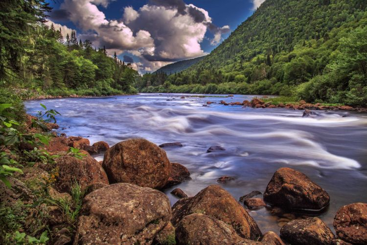 Canada Scenery Mountains Lake Stones Clouds Quebec Nature wallpaper