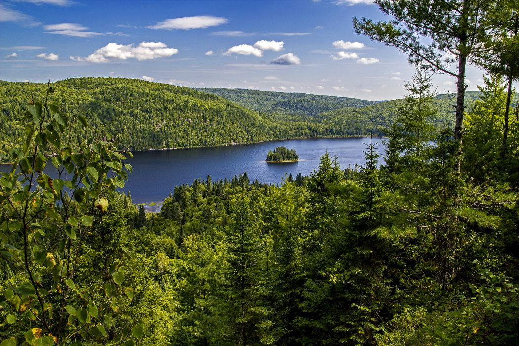 Canada Parks Forests Lake Sky Scenery At Mauricie Park Quebec Nature wallpaper