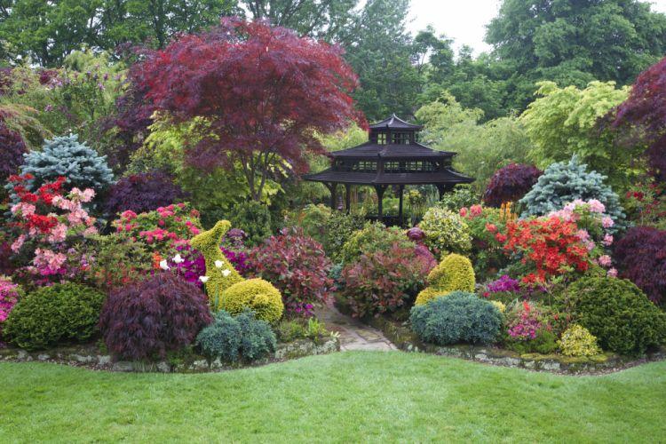 England Gardens Pagodas Rhododendron Shrubs Walsall England Garden Nature wallpaper
