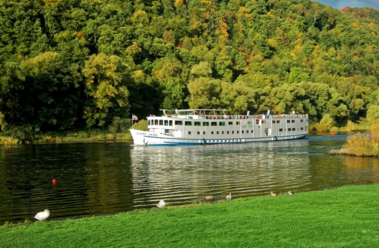 Germany Rivers Ships Forests Mosel Nature wallpaper