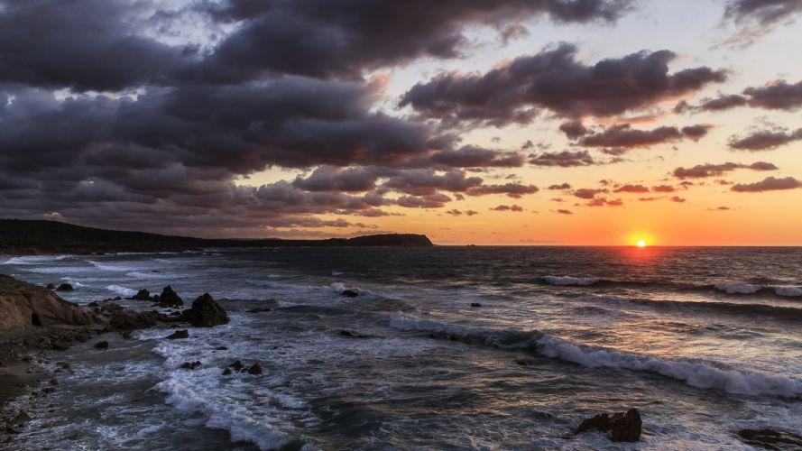 Italy Sunrises and sunsets Sky Sea Clouds Aglientu Sardinia Nature wallpaper