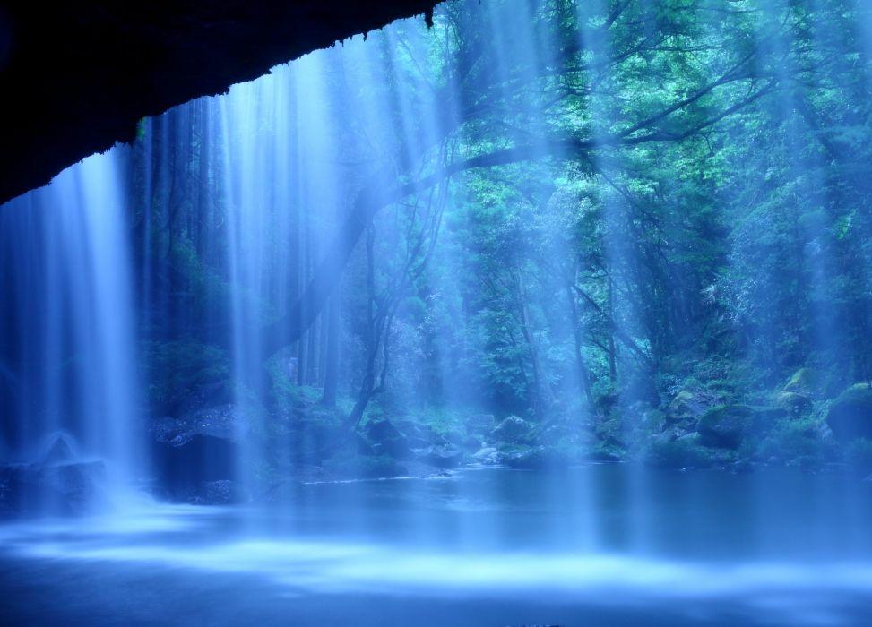 Waterfalls Japan Nabegataki-Falls Kumamoto Nature wallpaper