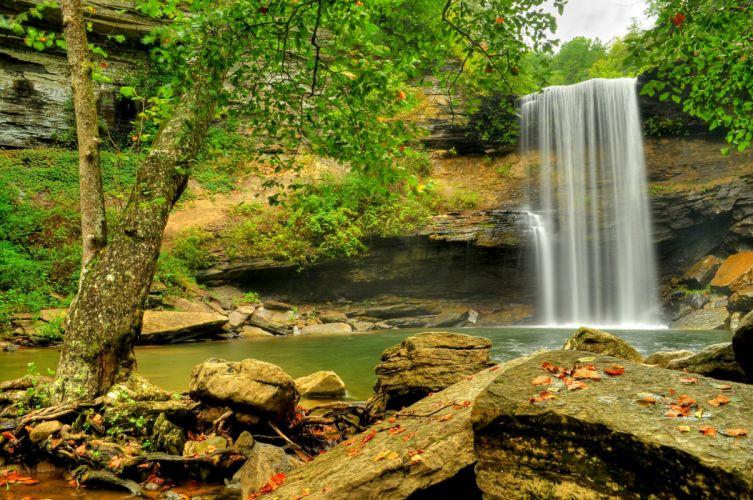 Waterfalls Rivers Crag Nature wallpaper