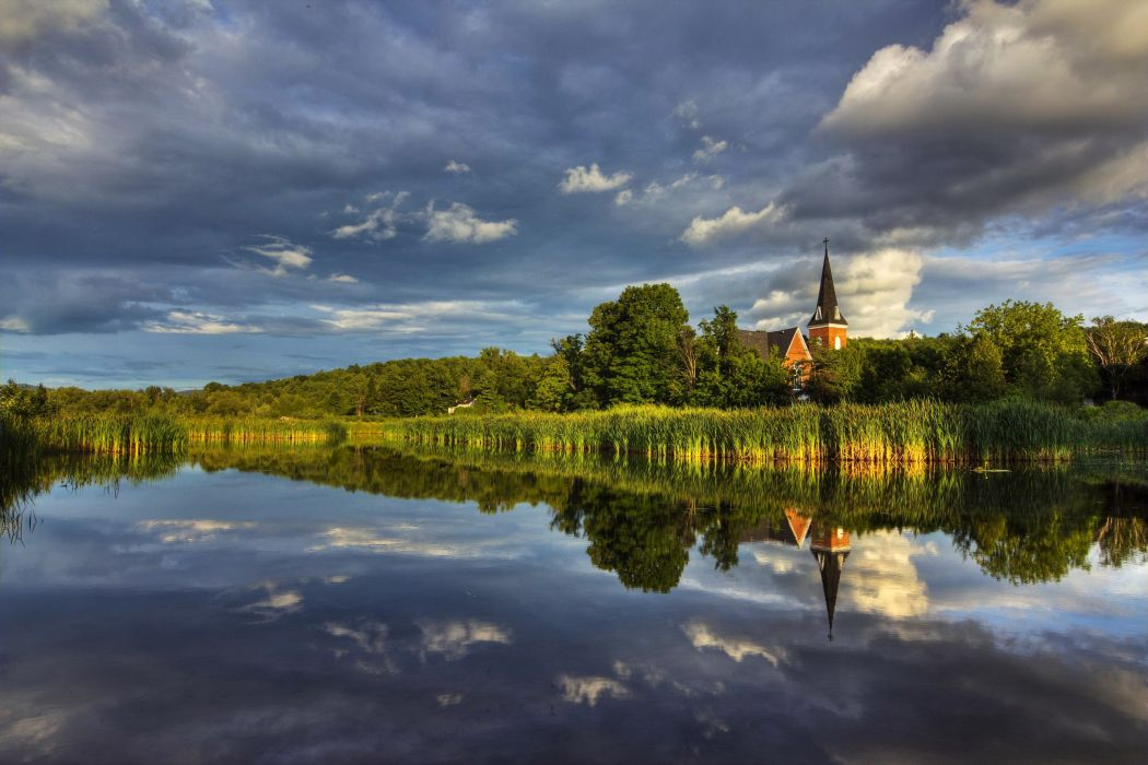 Canada Scenery Rivers Sky Clouds Knowlton Quebec Nature wallpaper