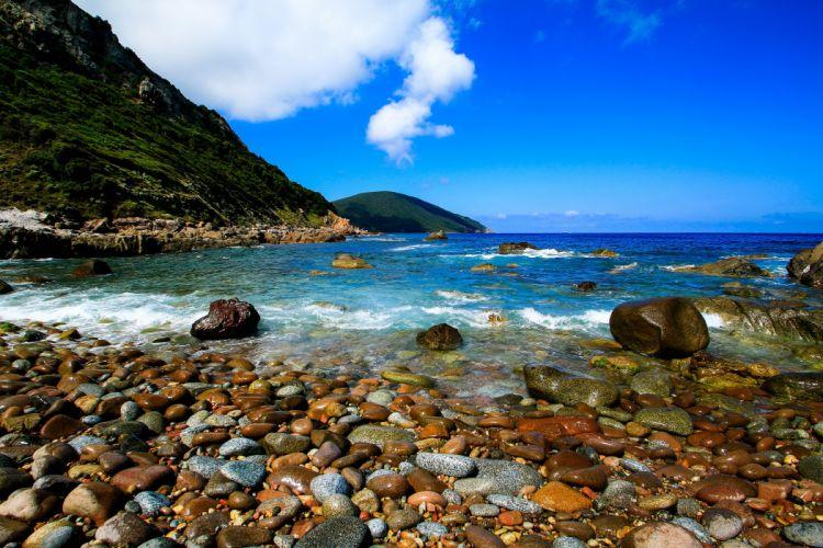 France Coast Sea Mountains Stones Corsica Nature wallpaper