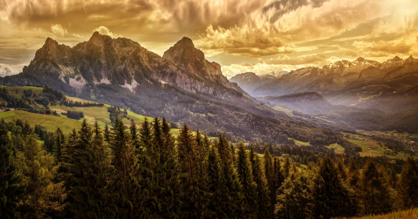 Mountains Forests Scenery Nature wallpaper