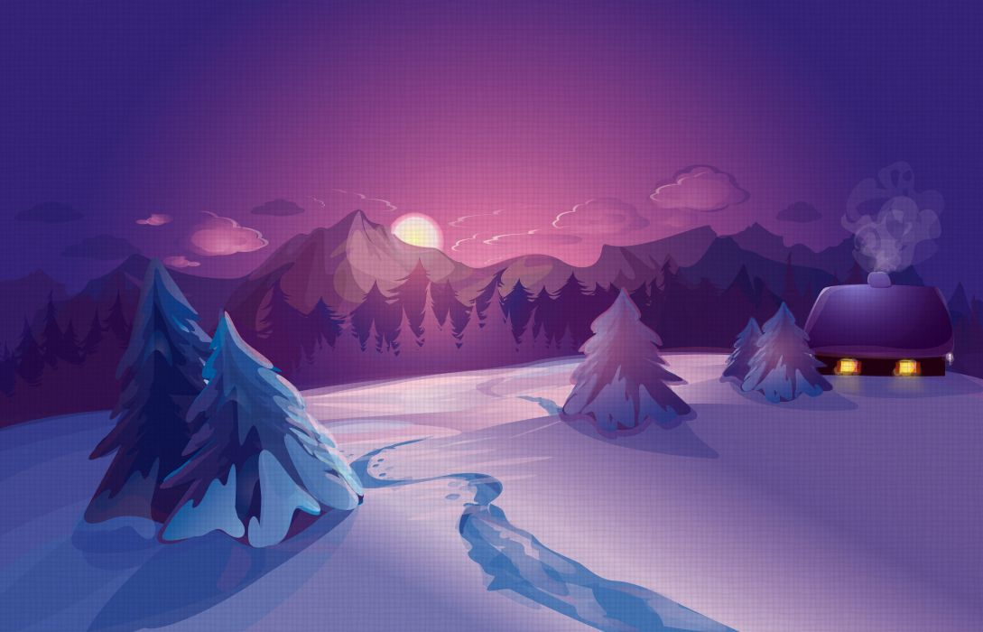 Vector Graphics Sunrises and sunsets Scenery Winter Snow Fir Nature wallpaper