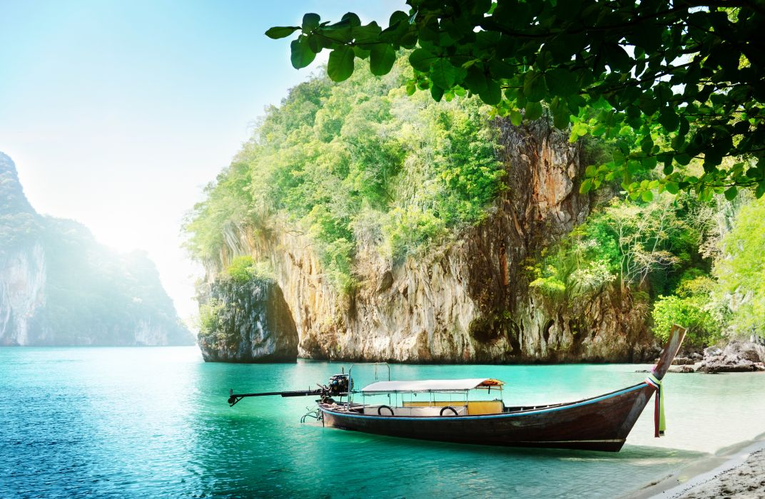 Boats Thailand Sea Crag Nature wallpaper