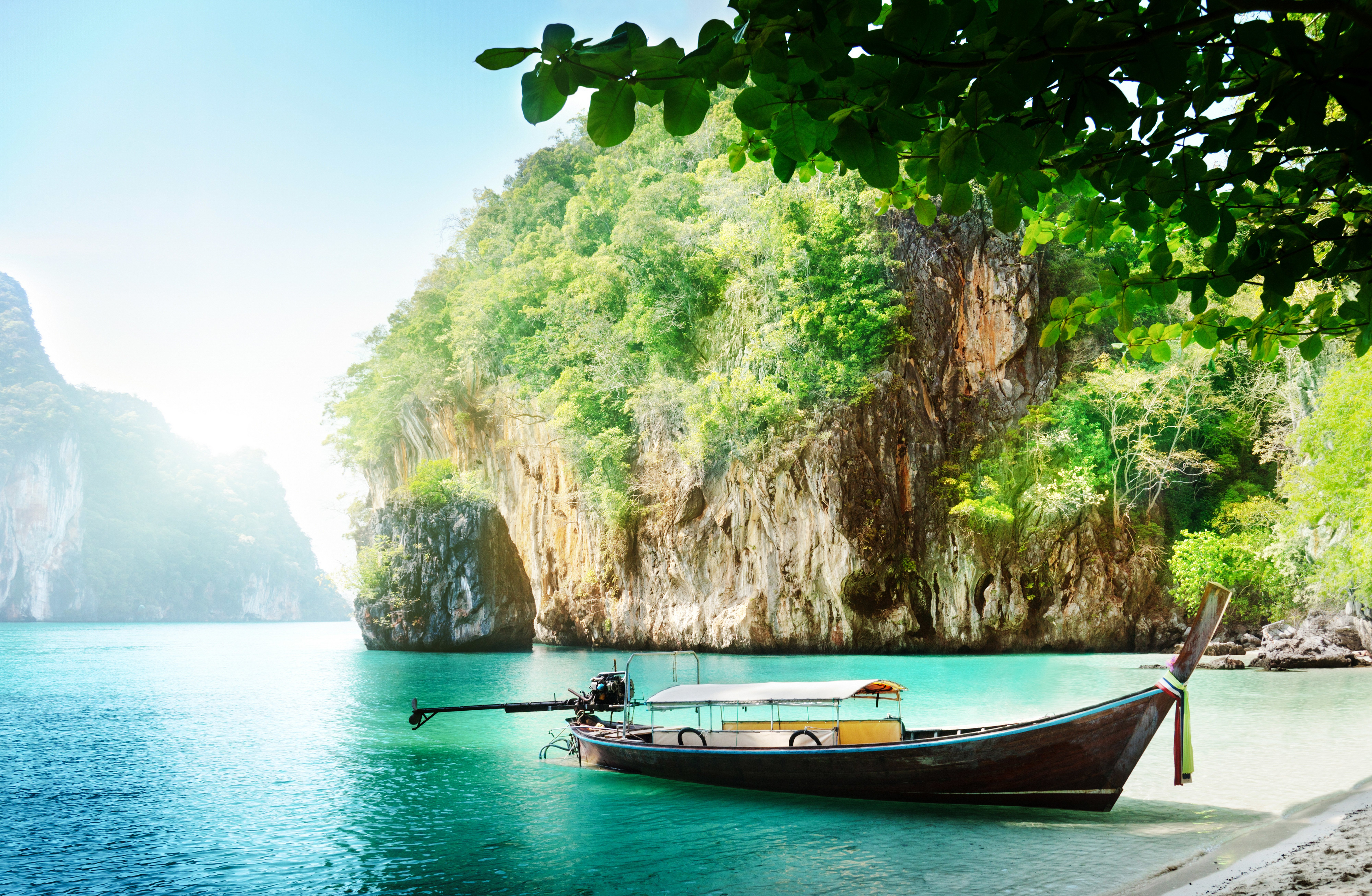 boats thailand sea crag nature wallpaper | 8000x5224 | 991808