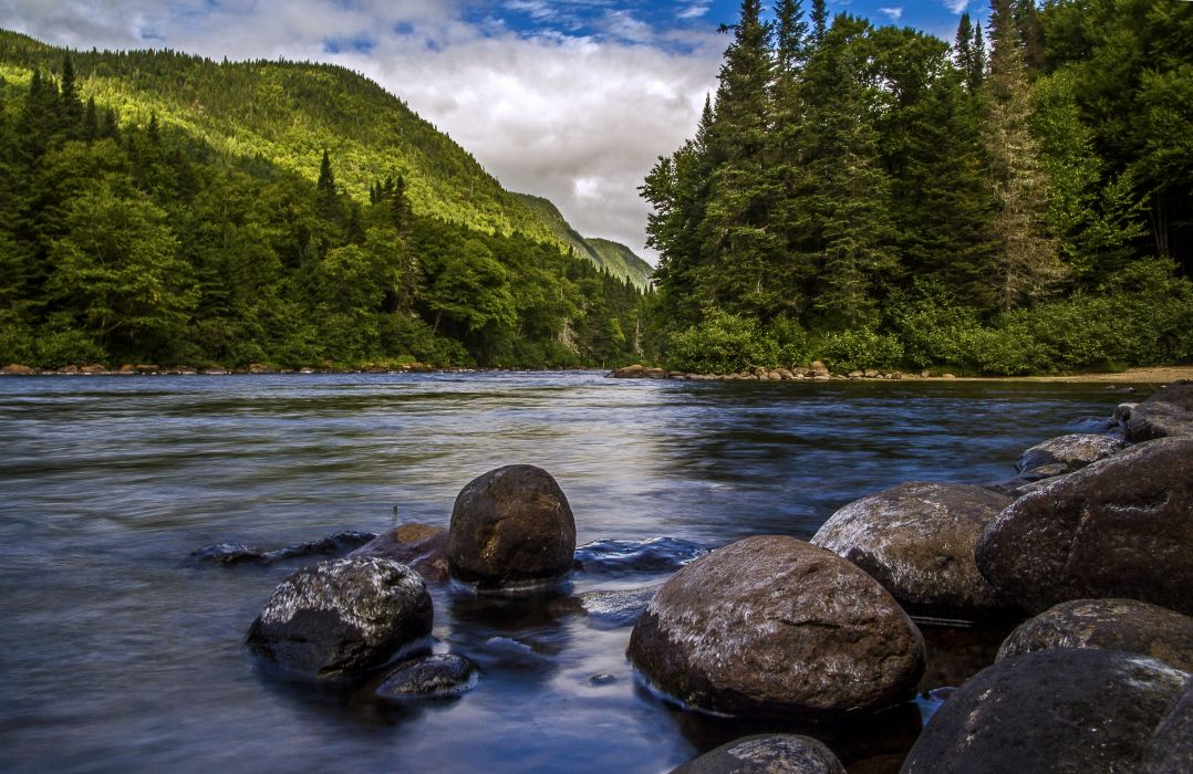 Canada Parks Lake Forests Stones Scenery At Jacques Cartier national park Quebec Nature wallpaper