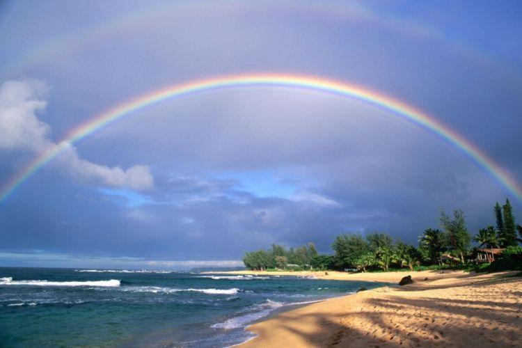 Rainbow on Beach wallpaper