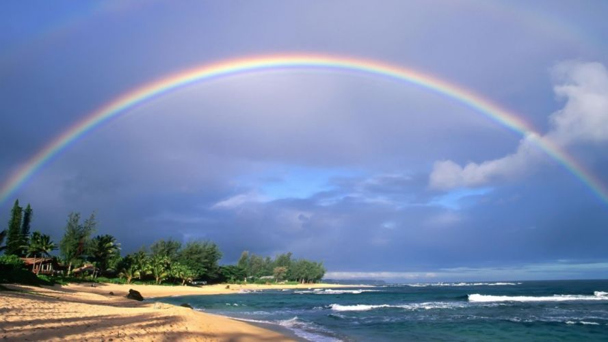 Nice View of Rainbow in Beach wallpaper