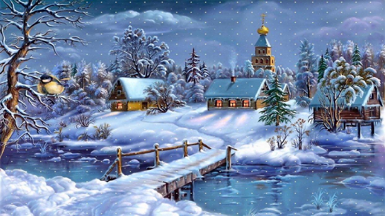 snowy christmas night holiday wallpaper