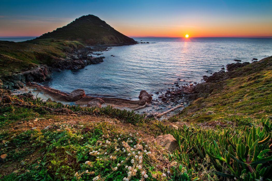 France Coast Sunrises and sunsets Scenery Cove Mediterraneo Nature wallpaper